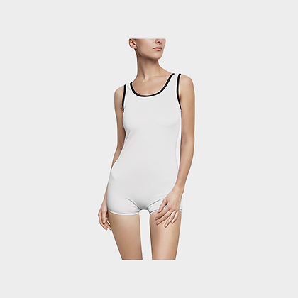 WOMEN'S JM COMPANY VINTAGE-STYLE SWIMSUIT // White & Black, w/ Logo