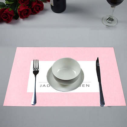 JM COMPANY LOGO PLACEMATS (Set of 4) // Light Pink, White, & Black