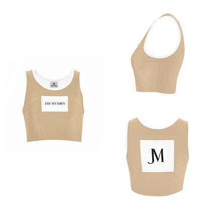WOMEN'S JM COMPANY LOGO SPORTS BRA // Tan, White, & Black