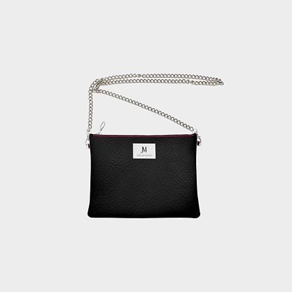 LEATHER CHAIN CROSSBODY BAG // Black with JM Logo