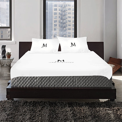 JM COMPANY LOGO 3-PIECE DUVET BEDDING SET #1 // White & Black