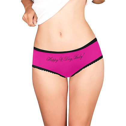 "WOMEN'S ""HAPPY V-DAY, BABY!"" IN CURSIVE PRINT HIGH-CUT BRIEFS // Pink & Black"