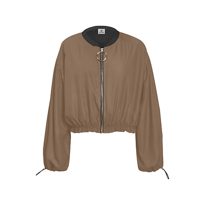 WOMEN'S CHIFFON CROPPED JACKET // Dark Taupe & Black