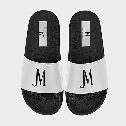 WOMEN'S JM LOGO SLIDE SANDALS // White & Black