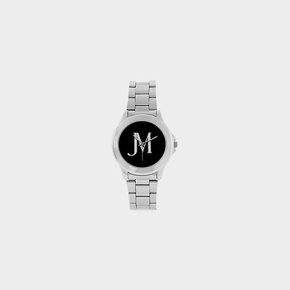 JM LOGO STAINLESS STEEL WATCH // Silver Metal, Black, & White