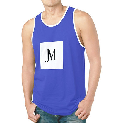 MEN'S JM LOGO HYBRID TANK TOP // Blue, White, & Black