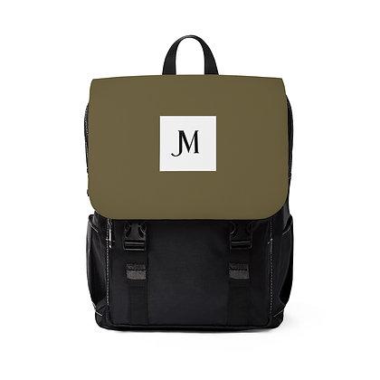JM OXFORD CANVAS BACKPACK // Olive Green & Black with JM Logo