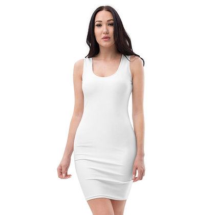 WOMEN'S SLEEVELESS SCOOP NECK BODYCON DRESS // White