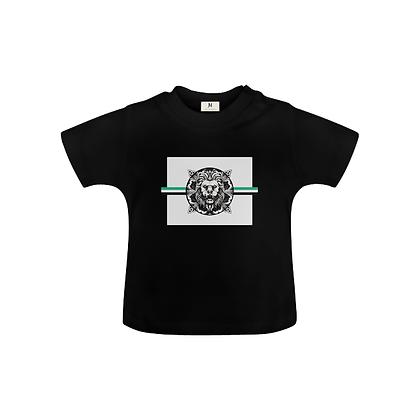 KIDS ROYAL COAT OF ARMS BABY UNISEX T-SHIRT // Black, White, & Jade Green