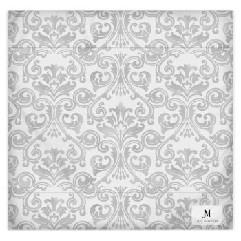 DAMASK PRINT JM DUVET COVER // Grey & White with JM Logo