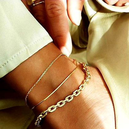 CLASSIC CHAIN LINK ANKLET SET (3 PIECES) // Gold