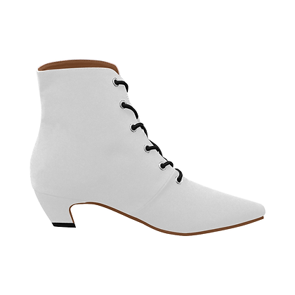 WOMEN'S LOW HEEL LACE-UP ANKLE BOOTS // White