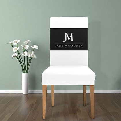 JM COMPANY LOGO REMOVABLE DINING CHAIR COVER // White & Black