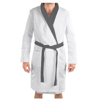 MEN'S PLUSH VELVET JM LOGO PRINT BATHROBE // White, Grey, & Black