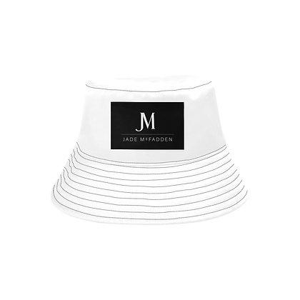 JM COMPANY LOGO UNISEX BUCKET HAT // White & Black