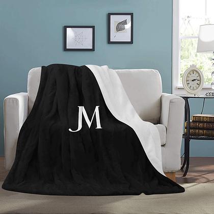 JM LOGO MICRO FLEECE LUXURY BLANKET // Black & White