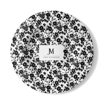 JM COMPANY VINTAGE FLORAL PRINT WALL PLATE // Black & White