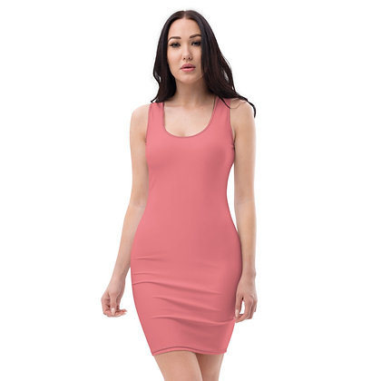 WOMEN'S SLEEVELESS SCOOP NECK BODYCON DRESS // Pink Flamingo Eggshell