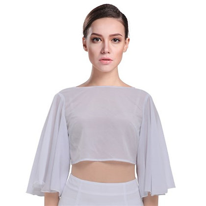 WOMEN'S TIE BACK BUTTERFLY SLEEVE CHIFFON TOP // White