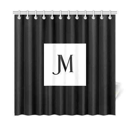 JM LOGO SHOWER CURTAIN // Black & White
