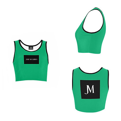 WOMEN'S JM COMPANY LOGO SPORTS BRA // Jade Green, Black, & White