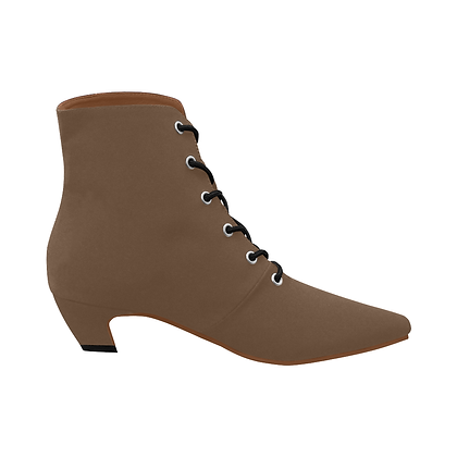 WOMEN'S LOW HEEL LACE-UP ANKLE BOOTS // Dark Taupe