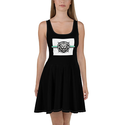 WOMEN'S ROYAL COAT OF ARMS SKATER DRESS // Black, White, & Jade Green
