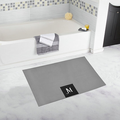 JM LOGO BATH RUG // Grey, Black, & White
