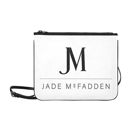 JM COMPANY LOGO SLIM CLUTCH CROSSBODY BAG // White & Black