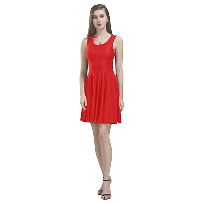 SLEEVELESS SKATER DRESS // Red