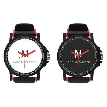 JM COMPANY LOGO UNISEX SILICONE BUCKLE STRAP WATCH SET // Red, White, & Black