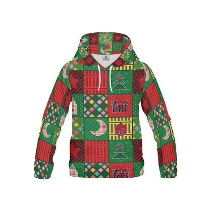 YOUTH SQUARED COLLAGE PRINT CHRISTMAS PULL-OVER HOODIE // Multicolored