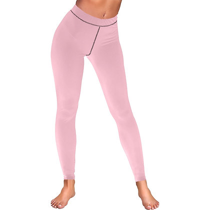 WOMEN'S LOW RISE LEGGINGS (OUTSIDE SERGING) // Soft Pink