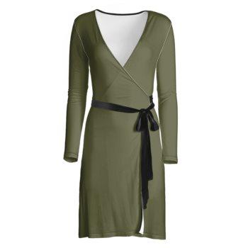 LONG SLEEVE WRAP DRESS // Olive Green & Black