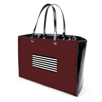 JM COMPANY STRIPED PRINT VINYL HANDBAG // Burgundy, Black, & White