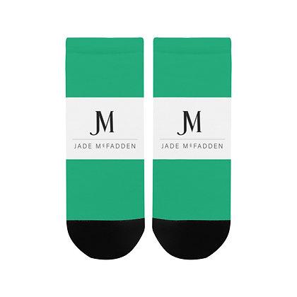 WOMEN'S JM COMPANY LOGO ANKLE SOCKS // Jade Green, White, & Black