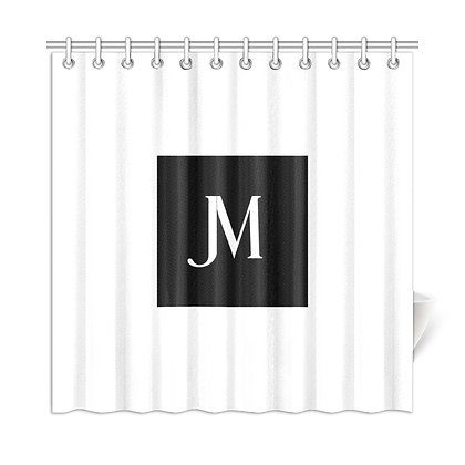 JM LOGO SHOWER CURTAIN // White & Black