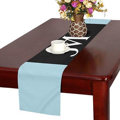 JM LOGO TABLE RUNNER // Light Blue, Black, & White