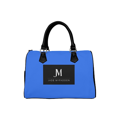 JM COMPANY BARREL HANDBAG // Blue, Black, & White
