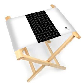 JM PLAID PRINT FOLDING STOOL CHAIR // White & Black w/ JM Company Logo
