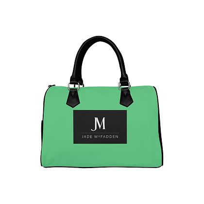 JM COMPANY BARREL HANDBAG // Mint Green, Black, & White