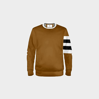 ARM STRIPED SWEATSHIRT // Light Brown, Black, & White