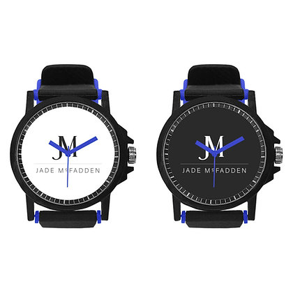 JM COMPANY LOGO UNISEX SILICONE BUCKLE STRAP WATCH SET // Blue, White, & Black