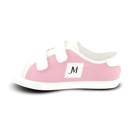 GIRLS JM LOGO VELCRO CANVAS SNEAKERS // Soft Pink, White, & Black