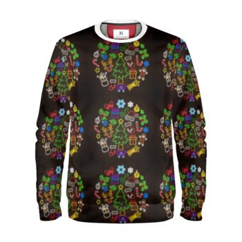 WOMEN'S CHRISTMAS MEDALLION PRINT SWEATSHIRT // Multicolored