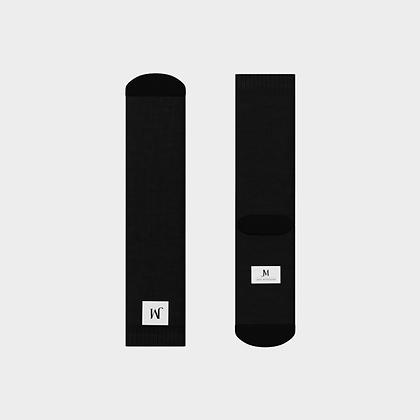 JM COMPANY LOGO CREW SOCKS // Black & White