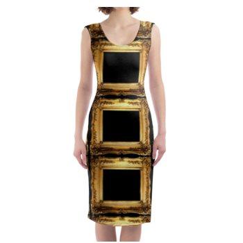 WOMEN'S VINTAGE FRAME PRINT BODYCON DRESS // Black & Gold