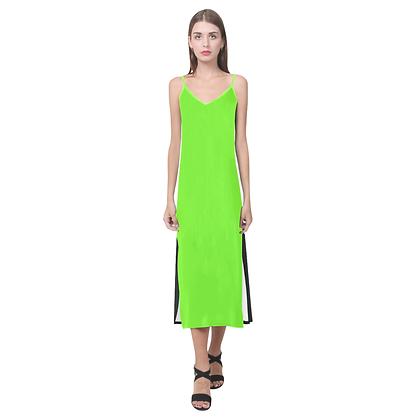 WOMEN'S DUAL COLOR V-NECK OPEN FORK SLIP DRESS // Neon Green & Black