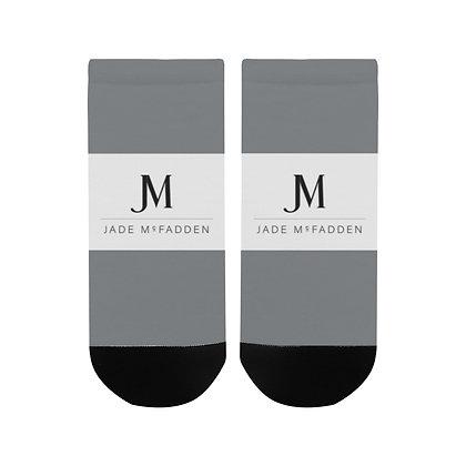 MEN'S JM COMPANY LOGO ANKLE SOCKS // Steel Grey, White, & Black