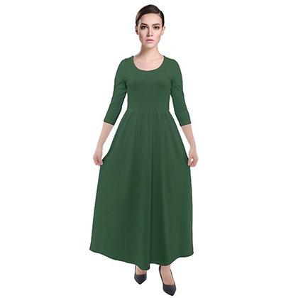 WOMEN'S THREE-QUARTER SLEEVE MAXI VELOUR DRESS // Hunter Green